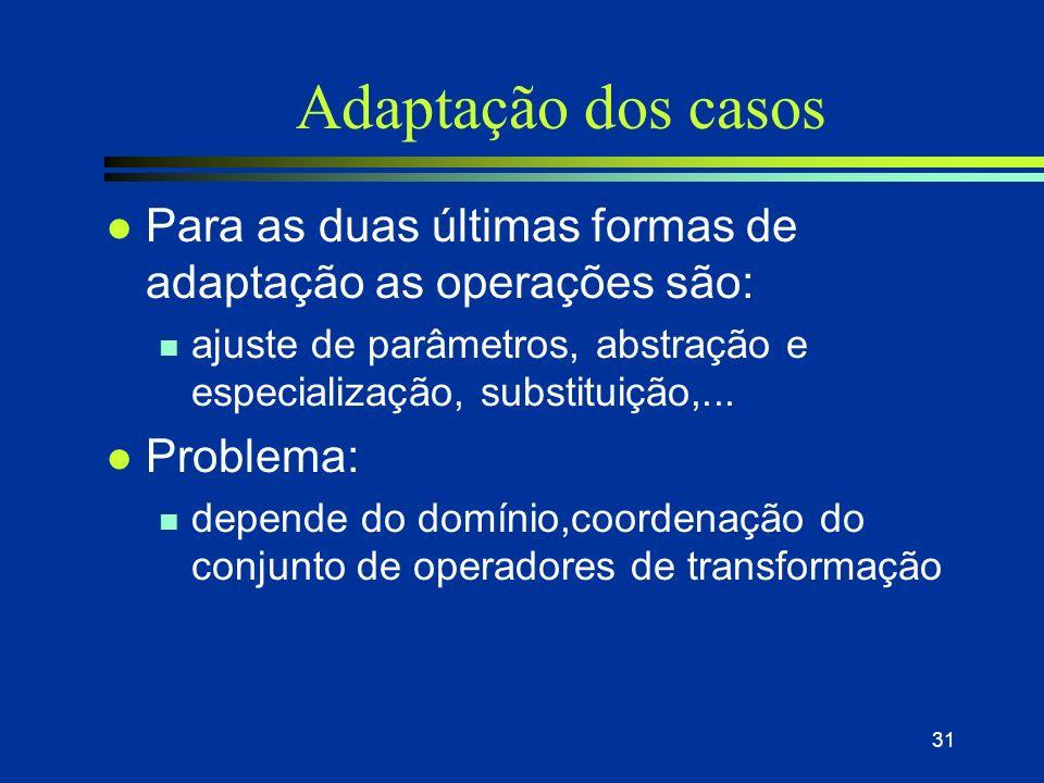 30 Adaptação dos casos l Objetivo: compensar as diferenças entre o problema-alvo e problema- fonte escolhido l Adaptação: 3 tipos n Cópia: usada norma
