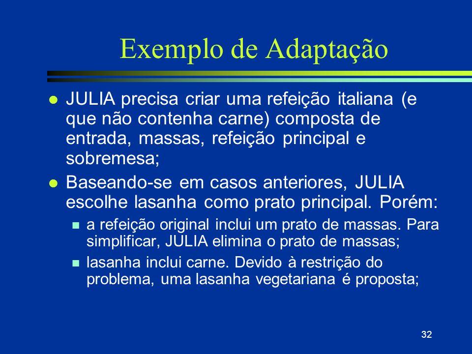 31 Adaptação dos casos l Para as duas últimas formas de adaptação as operações são: n ajuste de parâmetros, abstração e especialização, substituição,.