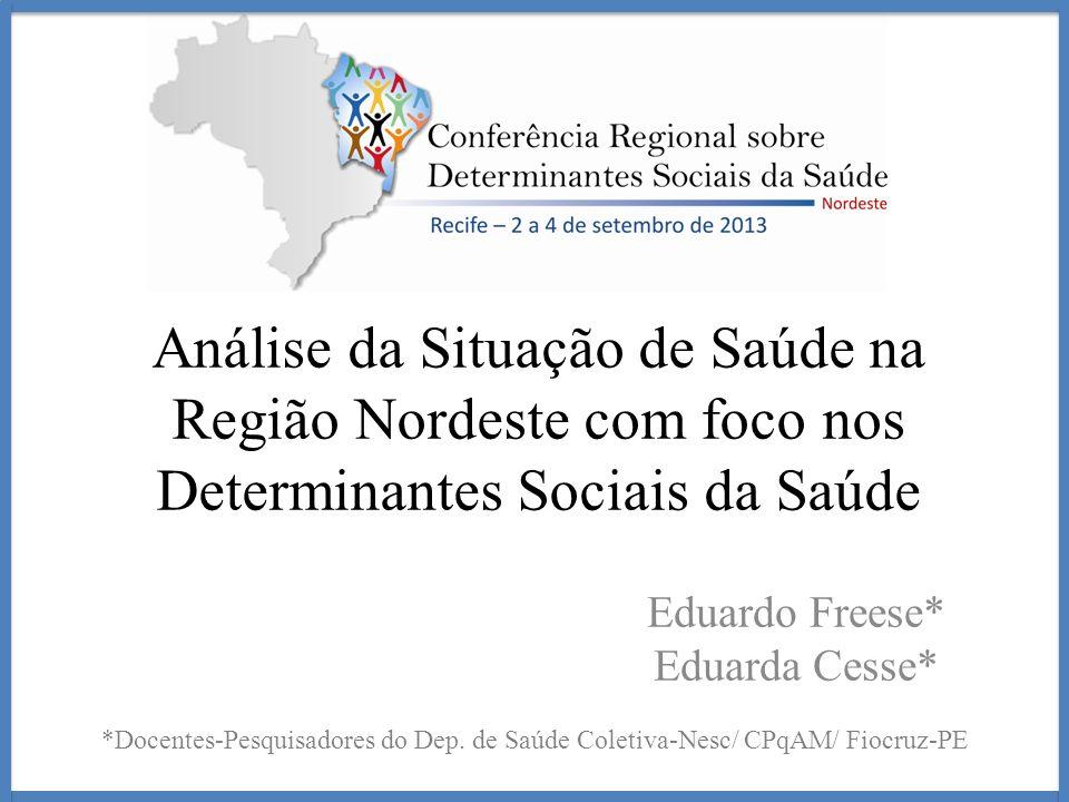 Análise da Situação de Saúde na Região Nordeste com foco nos Determinantes Sociais da Saúde Eduardo Freese* Eduarda Cesse* *Docentes-Pesquisadores do