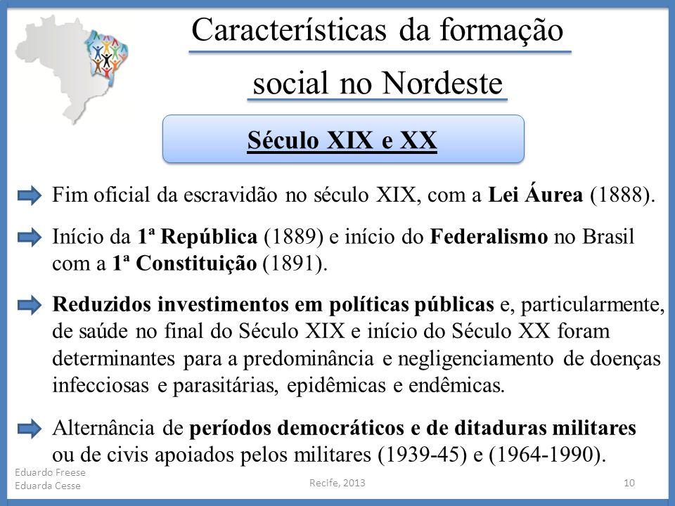 Recife, 201310 Eduardo Freese Eduarda Cesse Características da formação social no Nordeste Início da 1ª República (1889) e início do Federalismo no Br