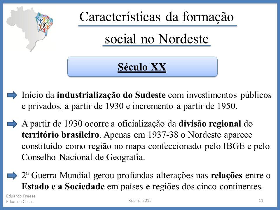 Recife, 201311 Eduardo Freese Eduarda Cesse Características da formação social no Nordeste Início da industrialização do Sudeste com investimentos púb