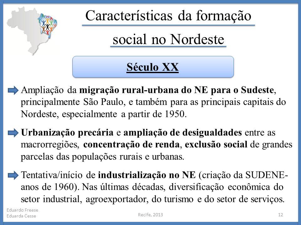 Recife, 201312 Eduardo Freese Eduarda Cesse Características da formação social no Nordeste Ampliação da migração rural-urbana do NE para o Sudeste, pr