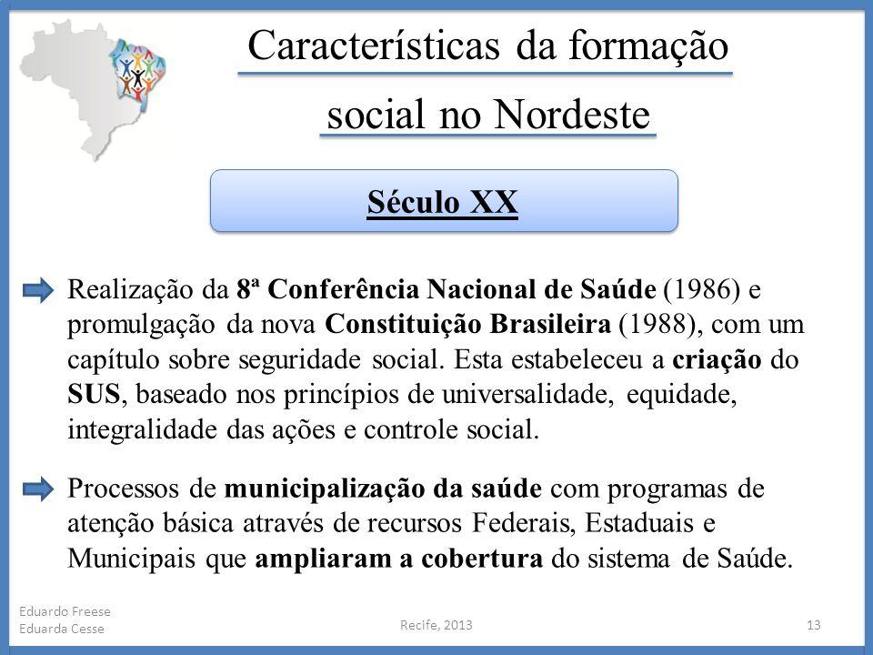 Recife, 201313 Eduardo Freese Eduarda Cesse Características da formação social no Nordeste Realização da 8ª Conferência Nacional de Saúde (1986) e pro