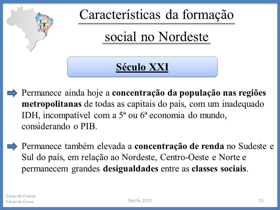 Recife, 201315 Eduardo Freese Eduarda Cesse Características da formação social no Nordeste Permanece ainda hoje a concentração da população nas regiõe