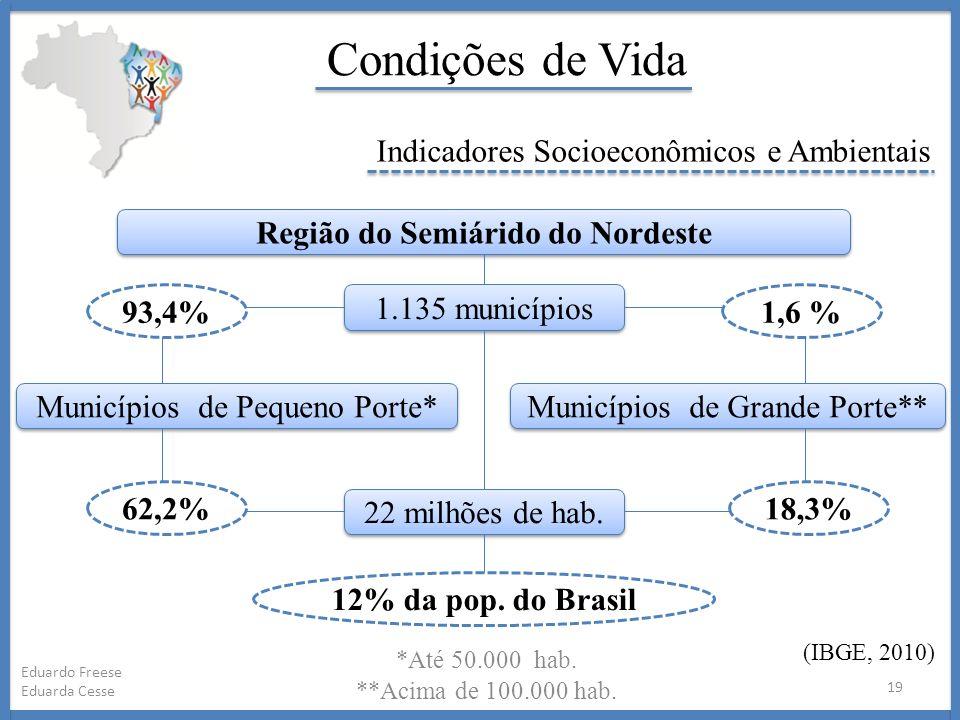 *Até 50.000 hab. **Acima de 100.000 hab. 19 Eduardo Freese Eduarda Cesse Condições de Vida Indicadores Socioeconômicos e Ambientais (IBGE, 2010) Regiã
