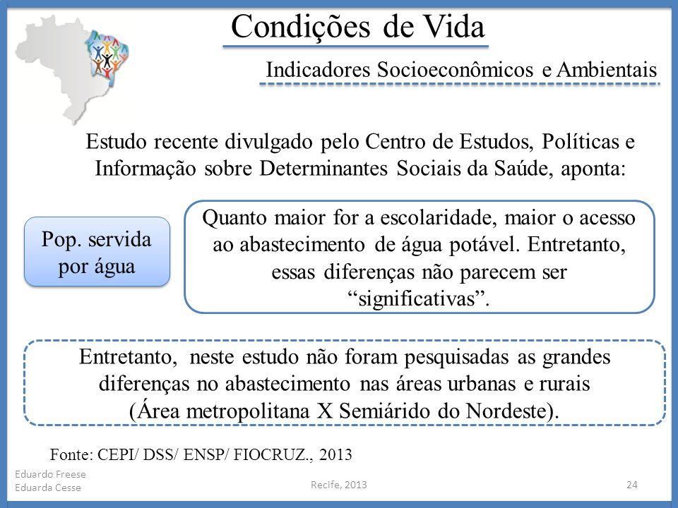 Recife, 201324 Eduardo Freese Eduarda Cesse Condições de Vida Indicadores Socioeconômicos e Ambientais Estudo recente divulgado pelo Centro de Estudos