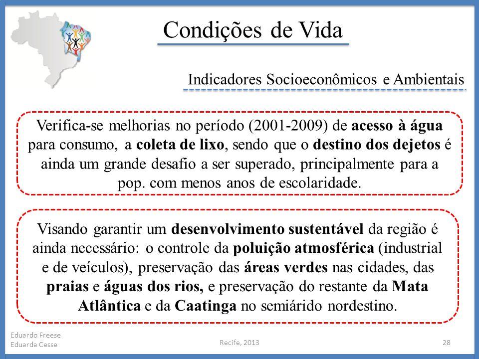 Recife, 201328 Eduardo Freese Eduarda Cesse Condições de Vida Indicadores Socioeconômicos e Ambientais Verifica-se melhorias no período (2001-2009) de
