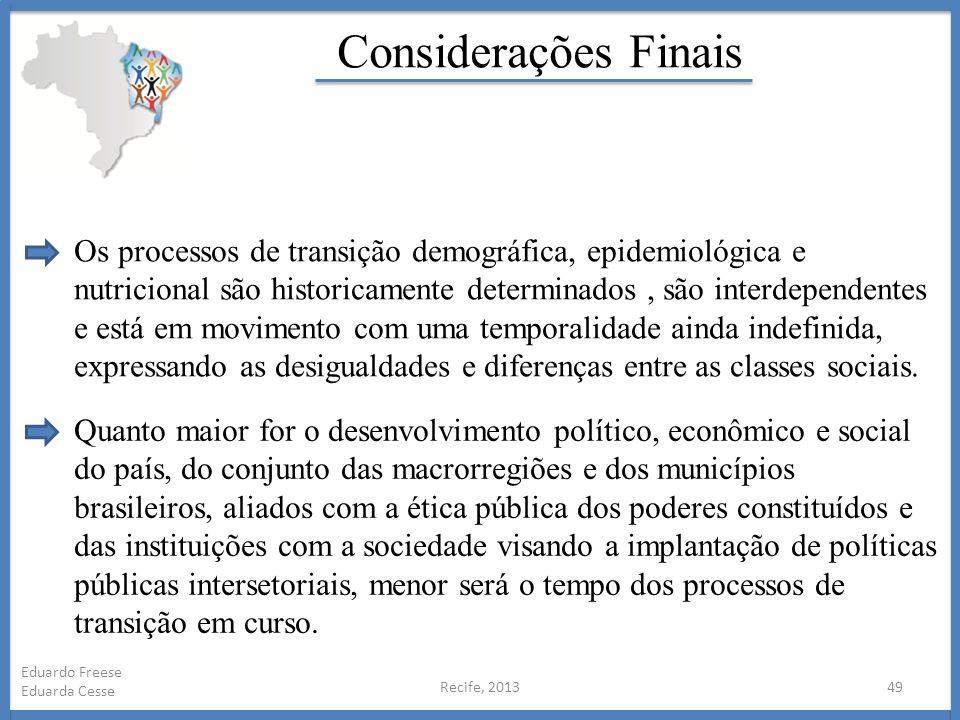 Recife, 201349 Eduardo Freese Eduarda Cesse Considerações Finais Os processos de transição demográfica, epidemiológica e nutricional são historicament