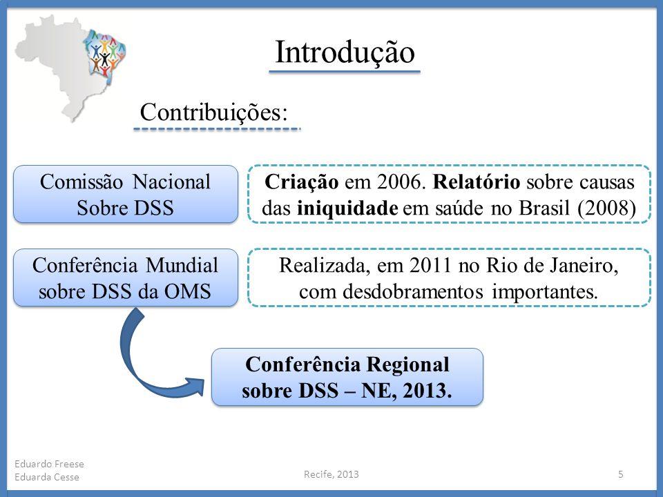 Introdução Recife, 20135 Eduardo Freese Eduarda Cesse Comissão Nacional Sobre DSS Comissão Nacional Sobre DSS Conferência Mundial sobre DSS da OMS Cri