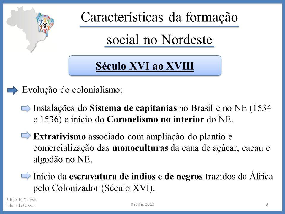 Recife, 20138 Eduardo Freese Eduarda Cesse Características da formação social no Nordeste Século XVI ao XVIII Evolução do colonialismo: Instalações do
