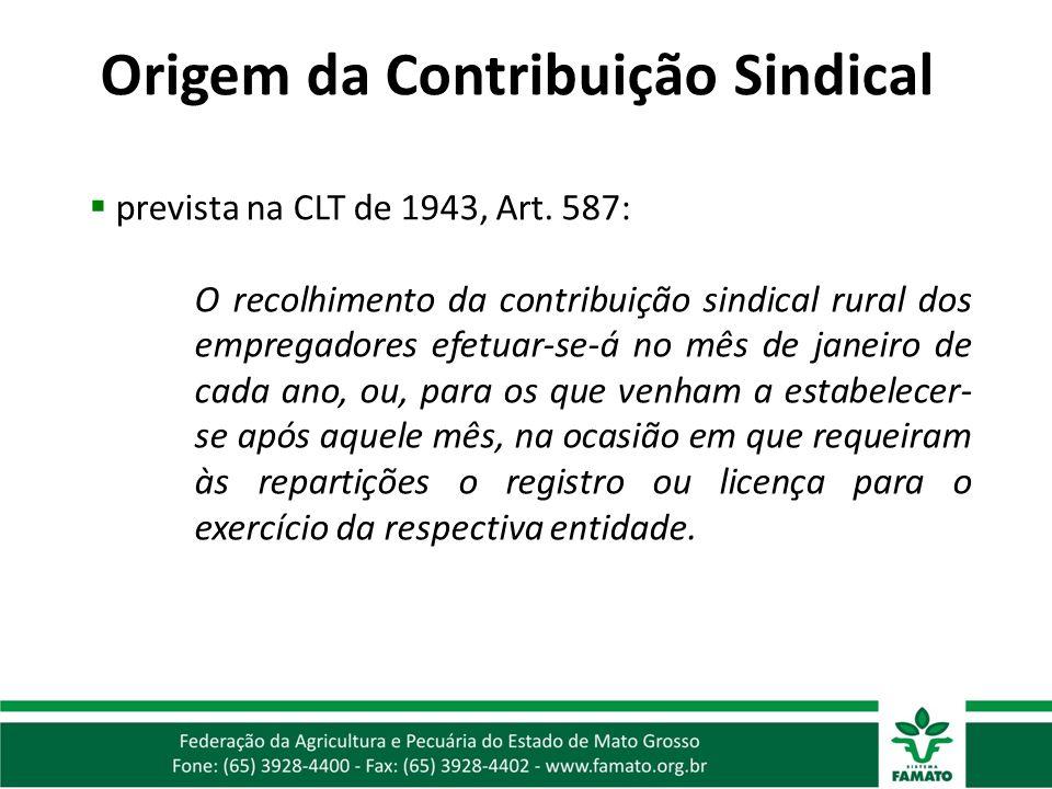 prevista na CLT de 1943, Art. 587: O recolhimento da contribuição sindical rural dos empregadores efetuar-se-á no mês de janeiro de cada ano, ou, para