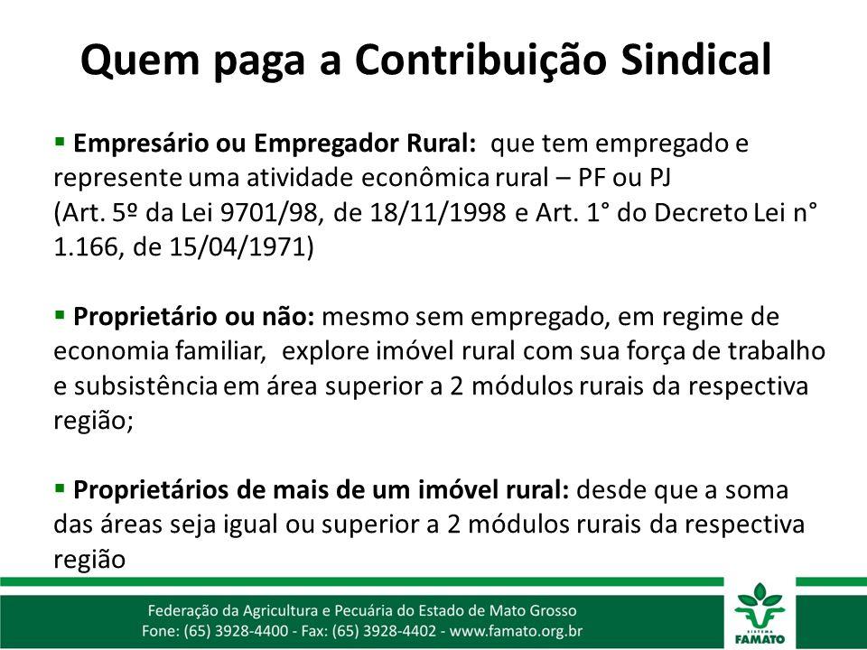 Empresário ou Empregador Rural: que tem empregado e represente uma atividade econômica rural – PF ou PJ (Art. 5º da Lei 9701/98, de 18/11/1998 e Art.