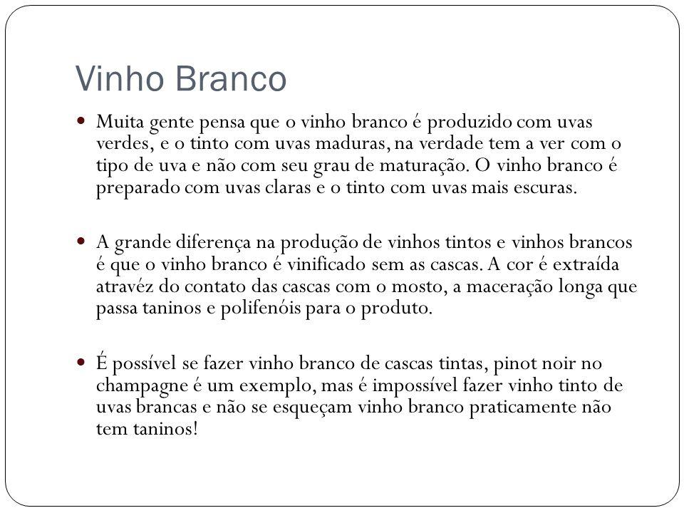 Vinho Branco Muita gente pensa que o vinho branco é produzido com uvas verdes, e o tinto com uvas maduras, na verdade tem a ver com o tipo de uva e nã