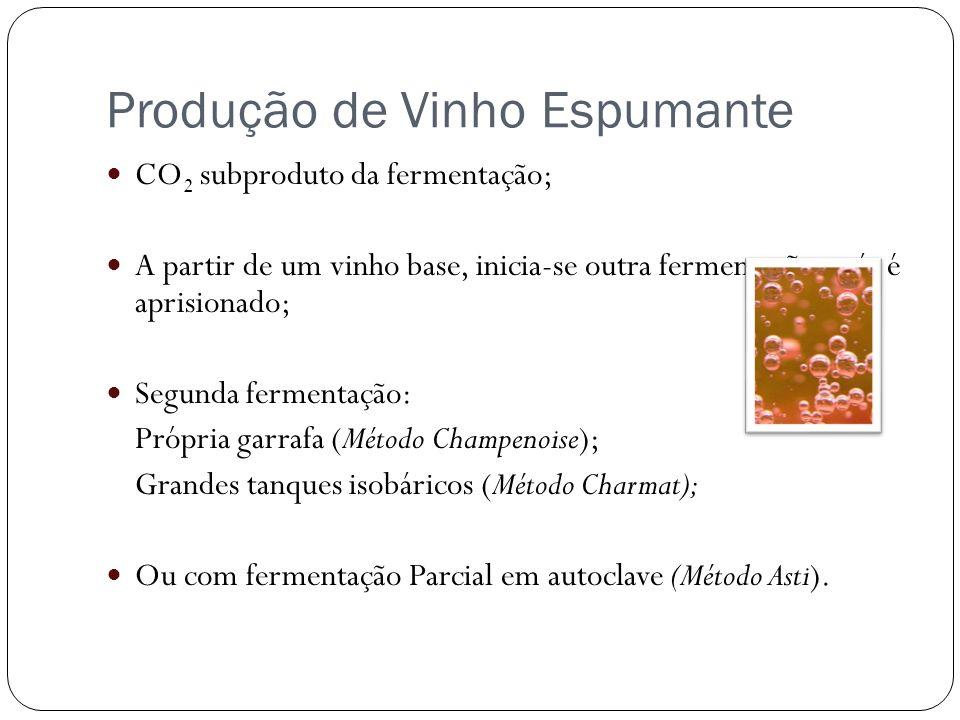 CO 2 subproduto da fermentação; A partir de um vinho base, inicia-se outra fermentação - gás é aprisionado; Segunda fermentação: Própria garrafa (Méto