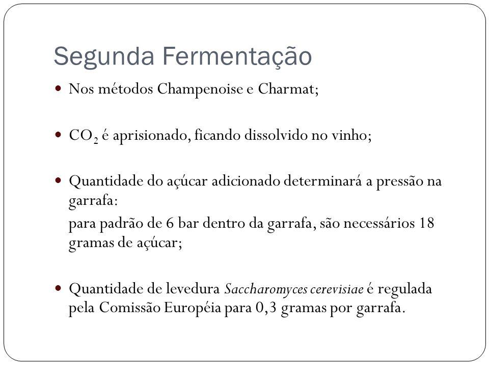 Segunda Fermentação Nos métodos Champenoise e Charmat; CO 2 é aprisionado, ficando dissolvido no vinho; Quantidade do açúcar adicionado determinará a