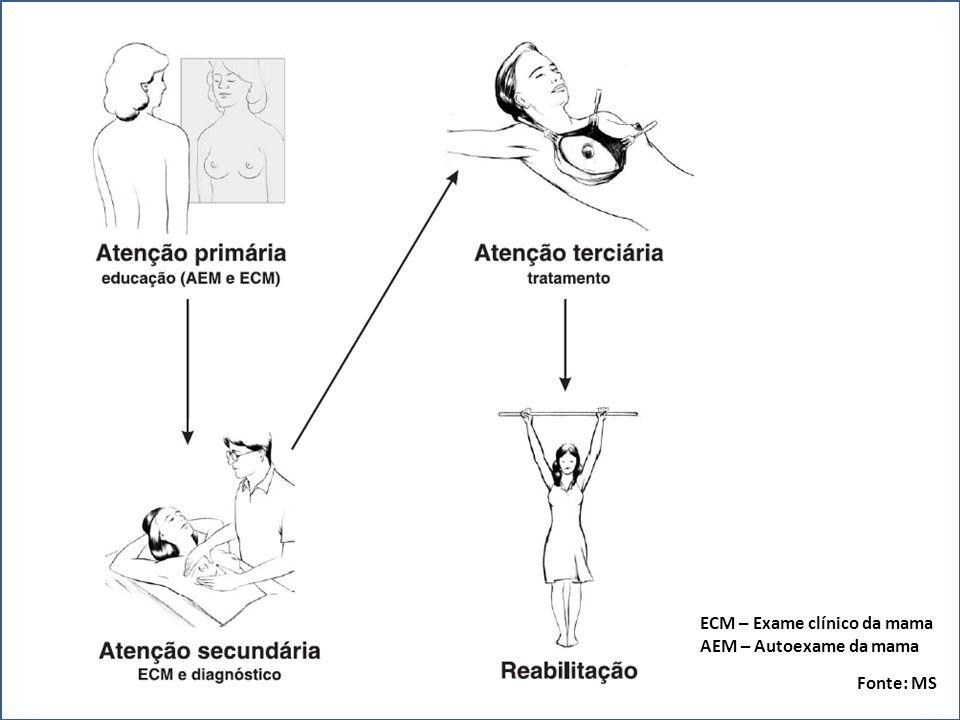 ECM – Exame clínico da mama AEM – Autoexame da mama Fonte: MS