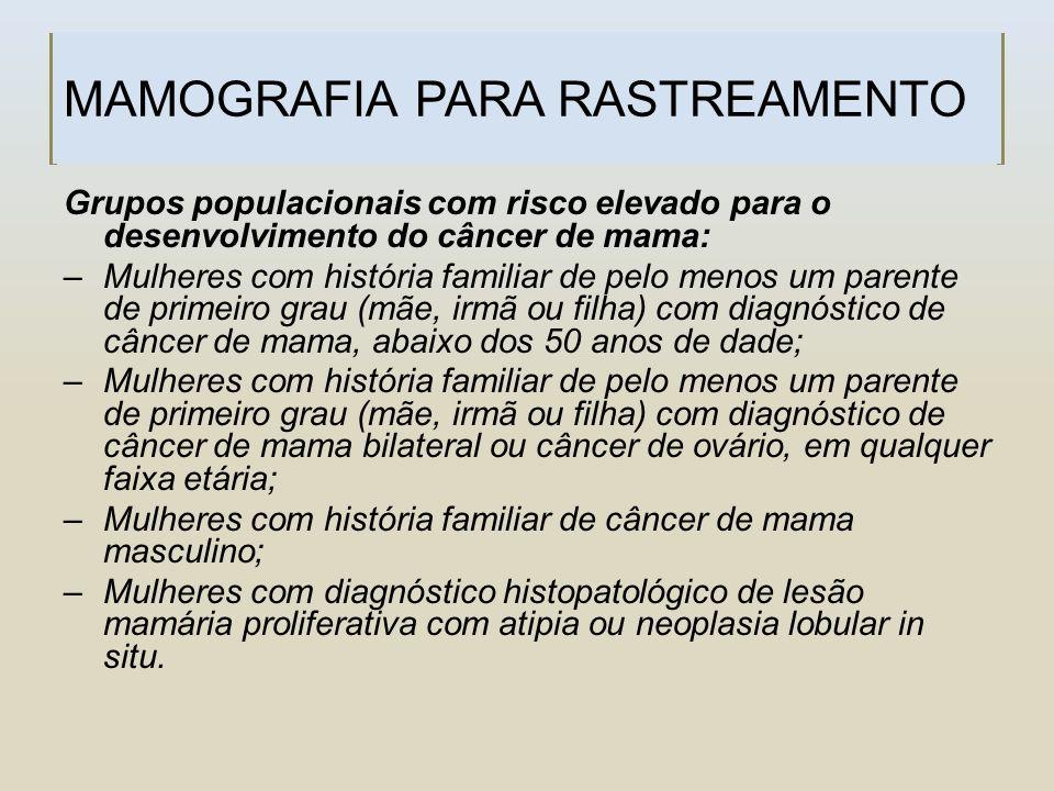 MAMOGRAFIA PARA RASTREAMENTO Grupos populacionais com risco elevado para o desenvolvimento do câncer de mama: –Mulheres com história familiar de pelo