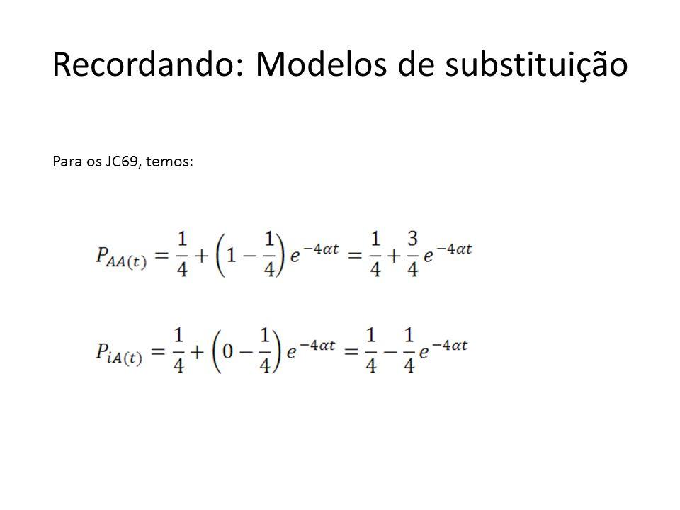 Recordando: Modelos de substituição Para os JC69, temos: