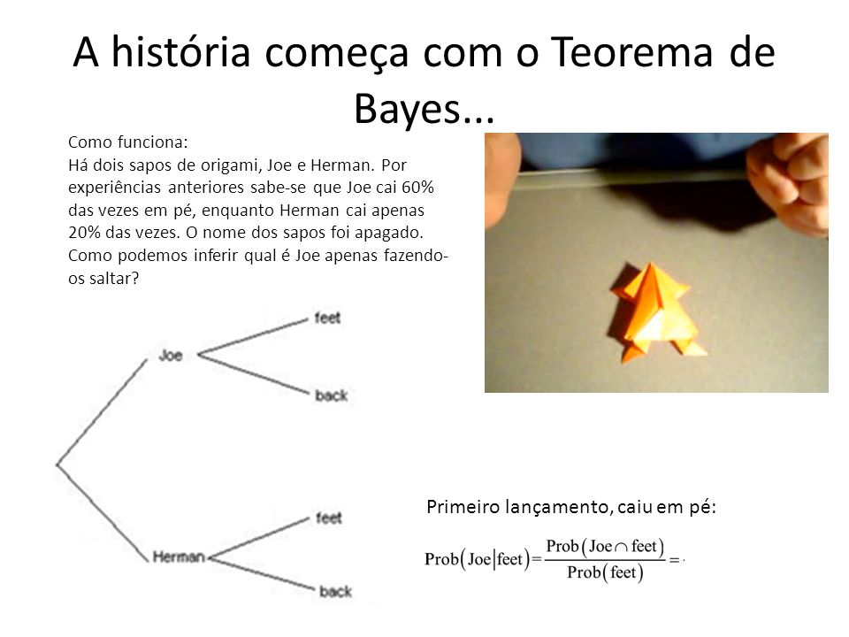 A história começa com o Teorema de Bayes... Como funciona: Há dois sapos de origami, Joe e Herman. Por experiências anteriores sabe-se que Joe cai 60%