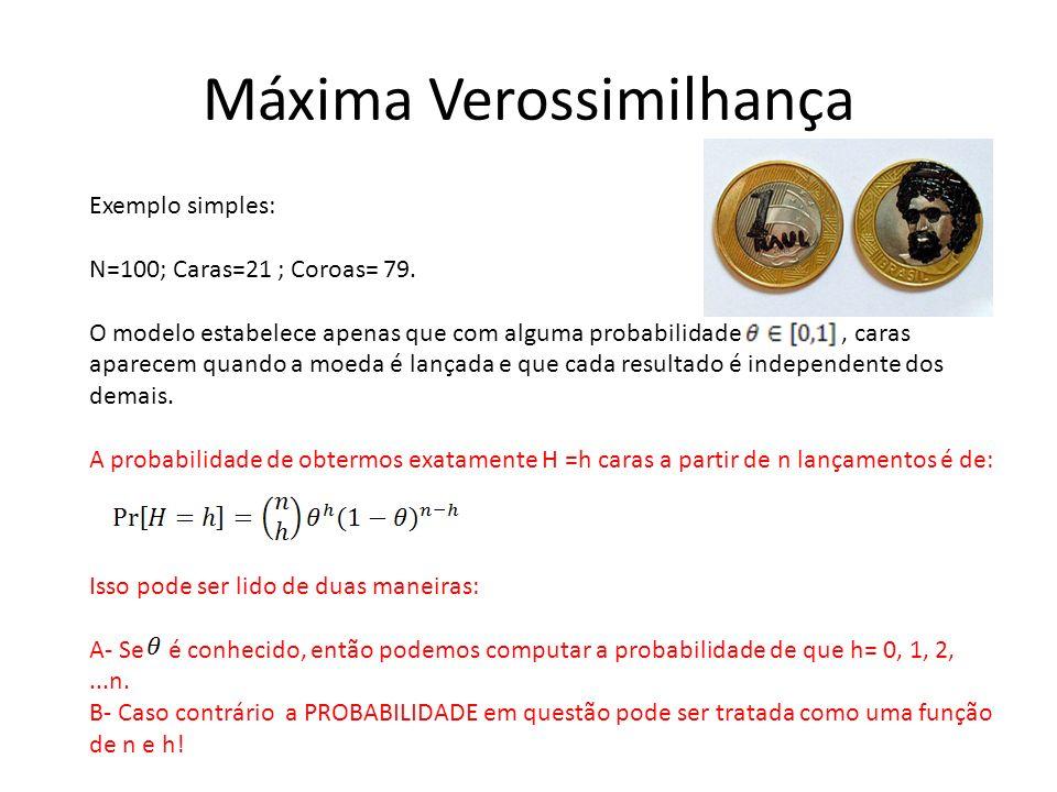 Máxima Verossimilhança Exemplo simples: N=100; Caras=21 ; Coroas= 79. O modelo estabelece apenas que com alguma probabilidade, caras aparecem quando a