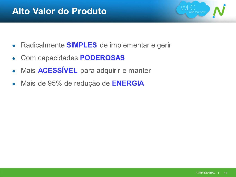 12 CONFIDENTIAL | Alto Valor do Produto Radicalmente SIMPLES de implementar e gerir Com capacidades PODEROSAS Mais ACESSÍVEL para adquirir e manter Ma