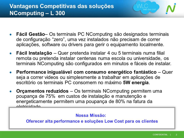 2 CONFIDENTIAL | Vantagens Competitivas das soluções NComputing – L 300 Fácil Gestão– Os terminais PC NComputing são designados terminais de configura