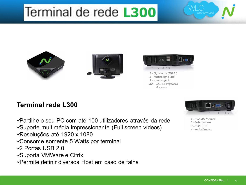 4 CONFIDENTIAL | Terminal rede L300 Partilhe o seu PC com até 100 utilizadores através da rede Suporte multimédia impressionante (Full screen vídeos)