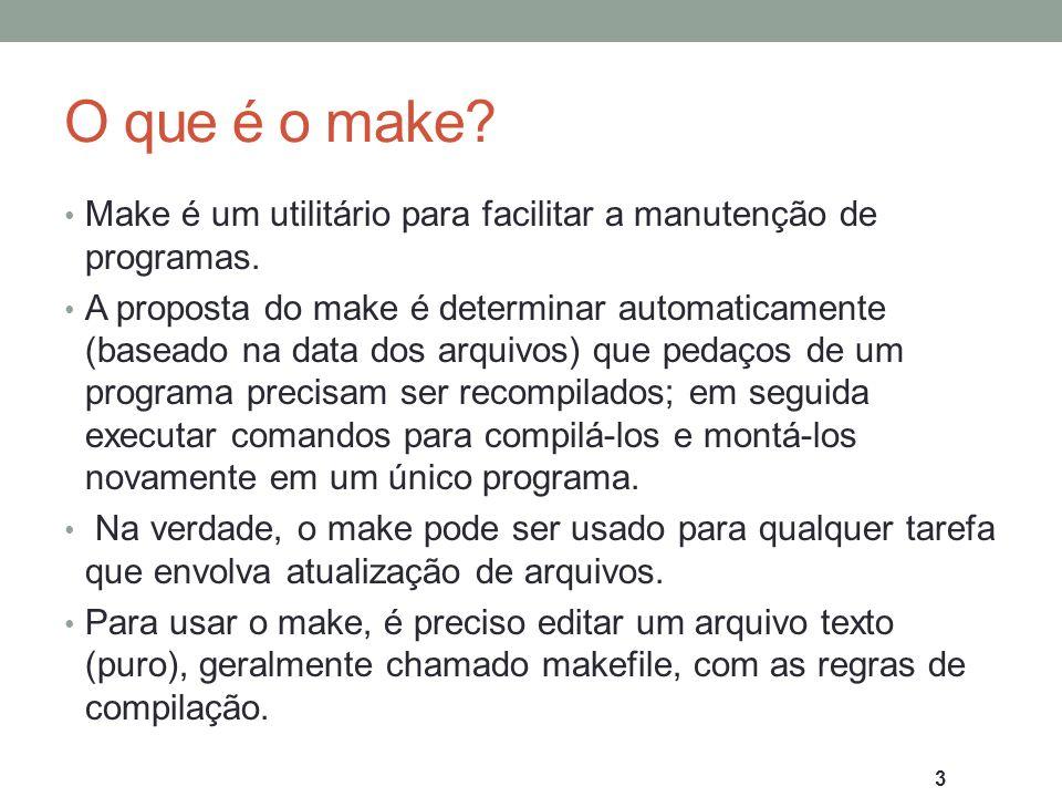 Vantagens do make As vantagens do make são: 1.Organizar do processo de compilação dos arquivos 2.