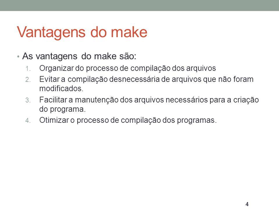 Vantagens do make As vantagens do make são: 1. Organizar do processo de compilação dos arquivos 2. Evitar a compilação desnecessária de arquivos que n