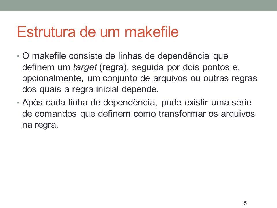 Estrutura de um makefile O makefile consiste de linhas de dependência que definem um target (regra), seguida por dois pontos e, opcionalmente, um conj