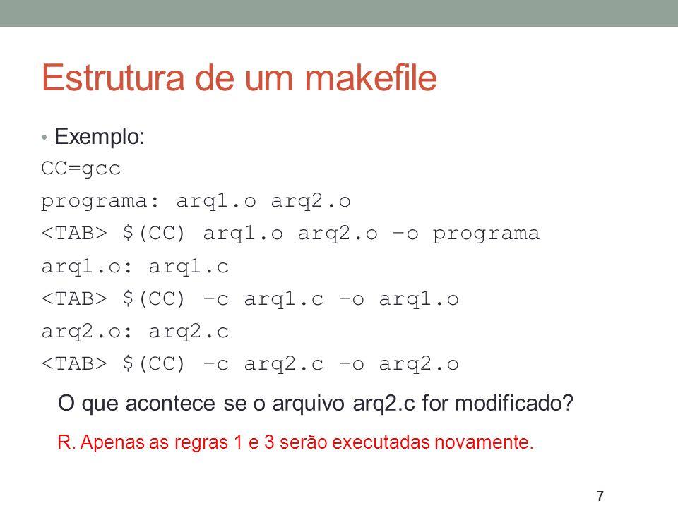 Estrutura de um makefile Exemplo: CC=gcc programa: arq1.o arq2.o $(CC) arq1.o arq2.o –o programa arq1.o: arq1.c $(CC) –c arq1.c –o arq1.o arq2.o: arq2