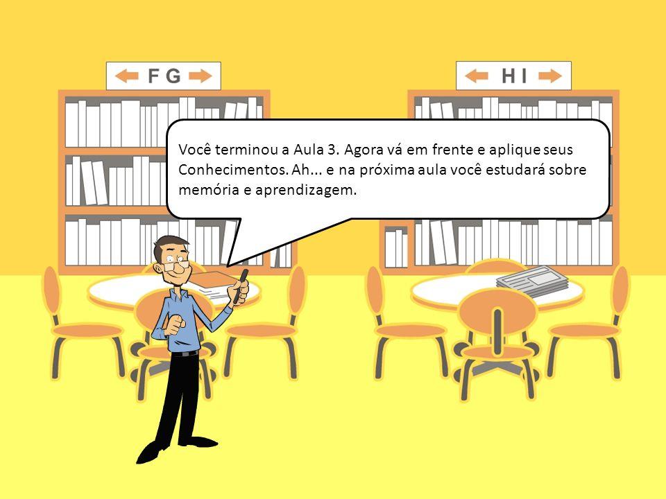 Você terminou a Aula 3. Agora vá em frente e aplique seus Conhecimentos. Ah... e na próxima aula você estudará sobre memória e aprendizagem.