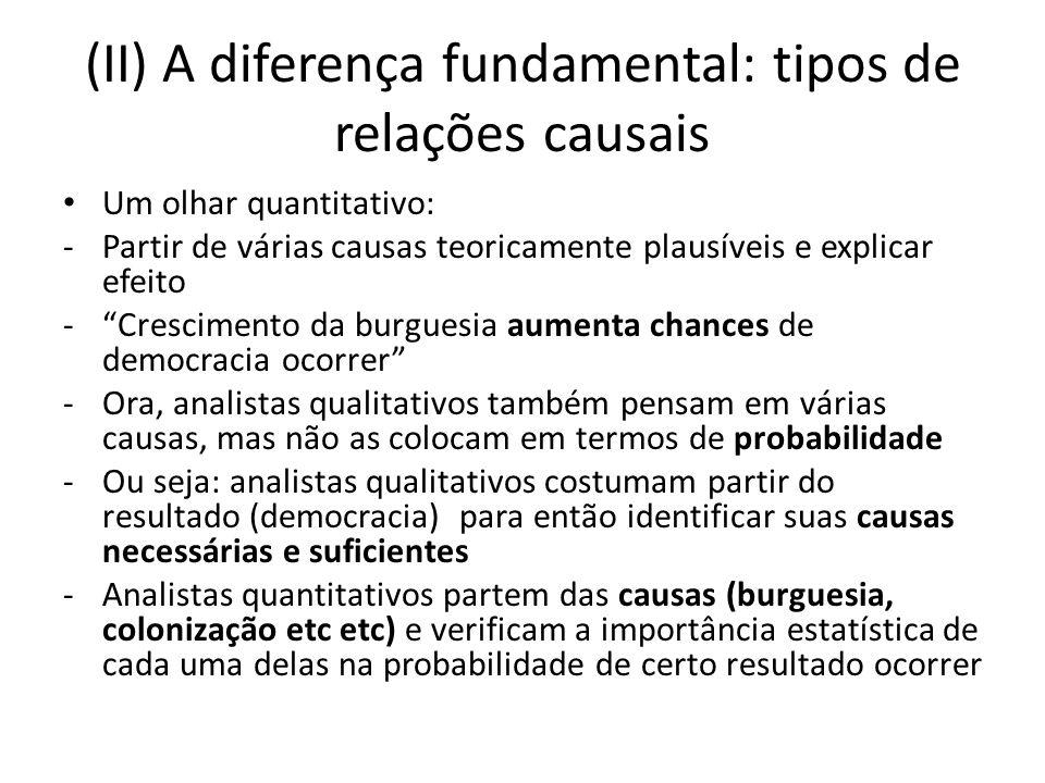 (II) A diferença fundamental: tipos de relações causais Um olhar quantitativo: -Partir de várias causas teoricamente plausíveis e explicar efeito -Cre