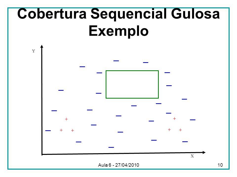 Cobertura Sequencial Gulosa Exemplo X Y + + + + + + Aula 6 - 27/04/201010