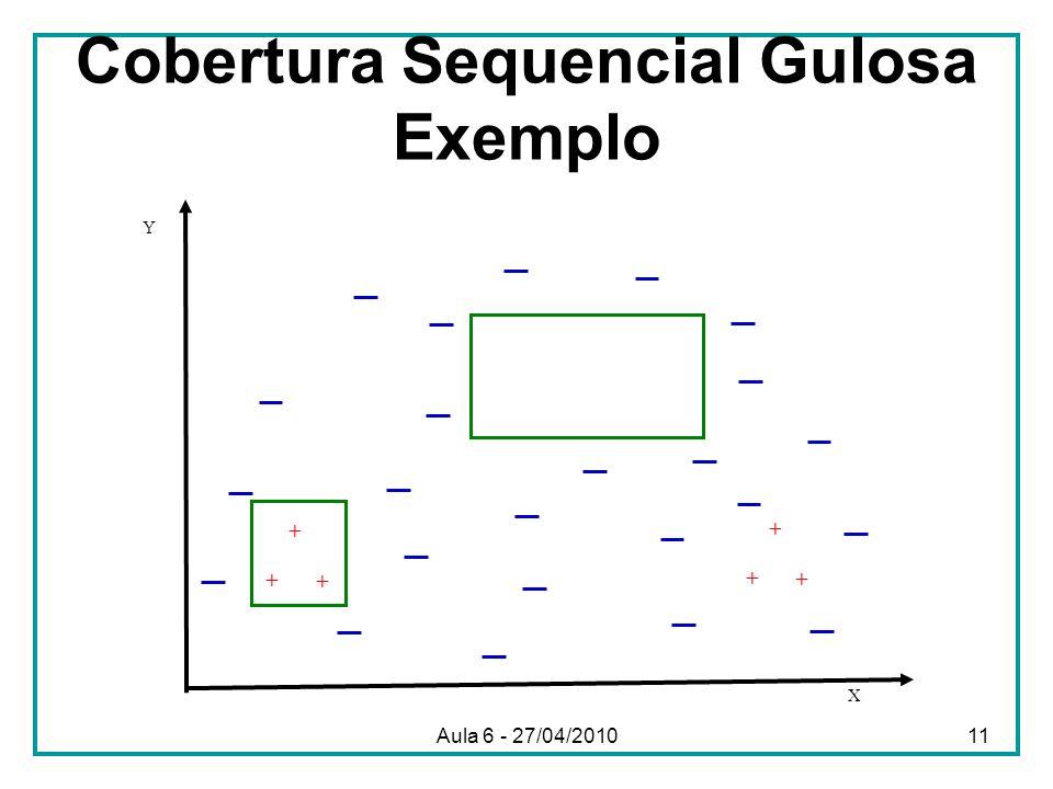 Cobertura Sequencial Gulosa Exemplo X Y + + + + + + Aula 6 - 27/04/201011
