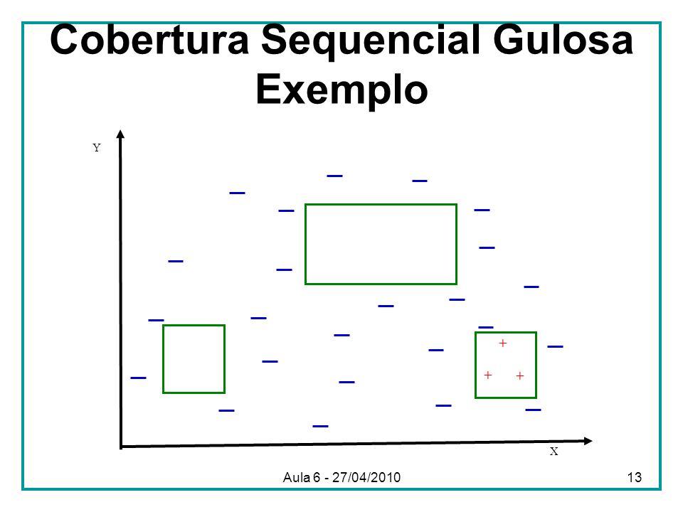 Cobertura Sequencial Gulosa Exemplo X Y + + + Aula 6 - 27/04/201013