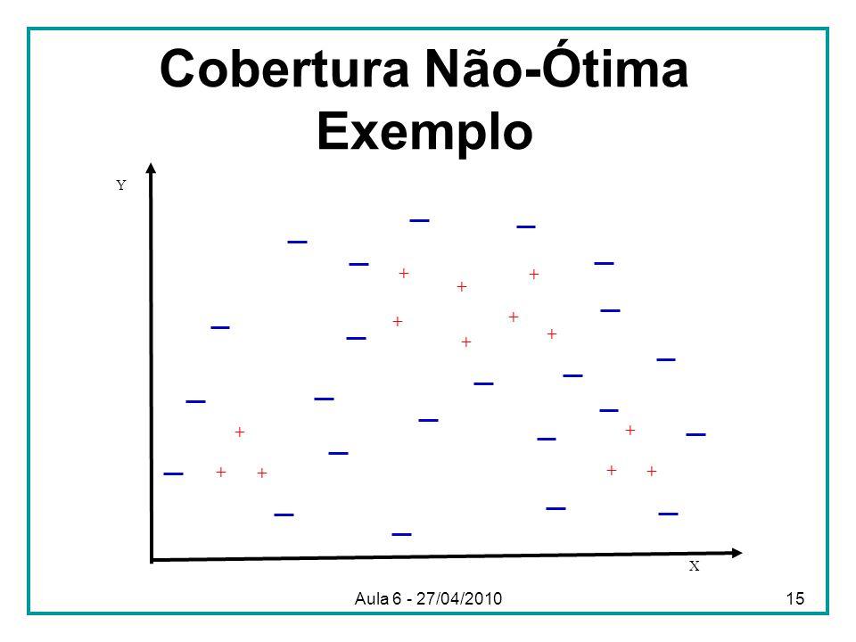 Cobertura Não-Ótima Exemplo X Y + + + + + + + + + + + + + Aula 6 - 27/04/201015