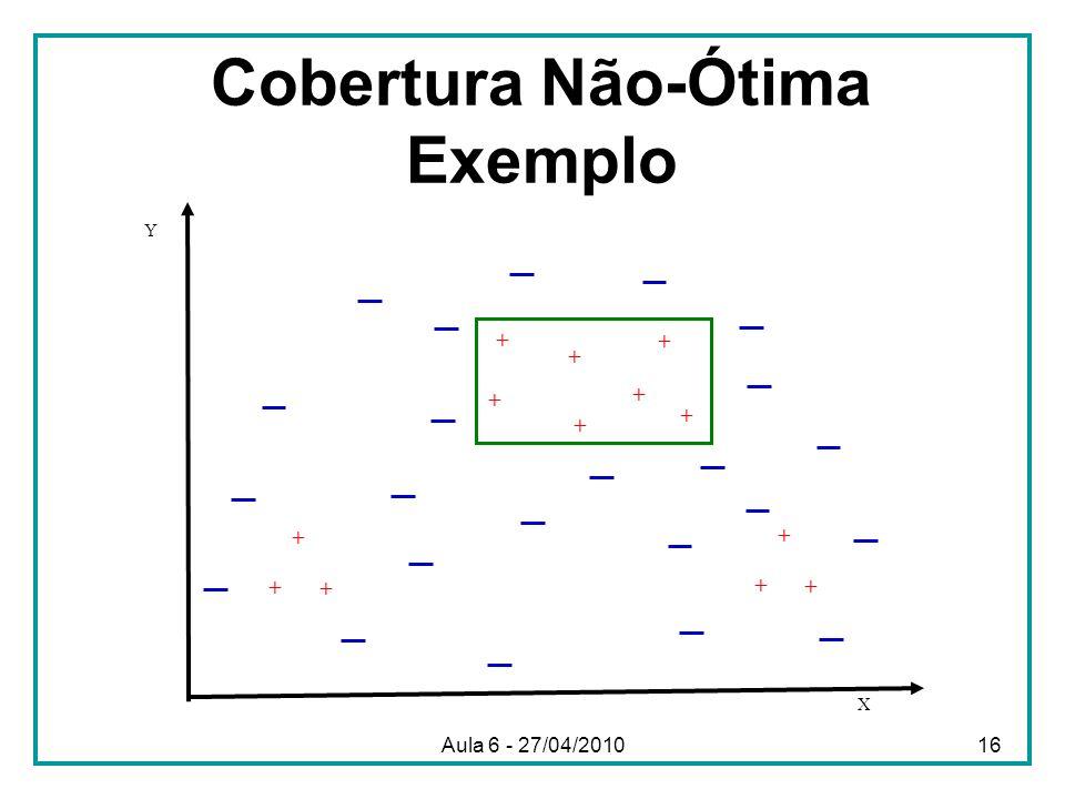 Cobertura Não-Ótima Exemplo X Y + + + + + + + + + + + + + Aula 6 - 27/04/201016