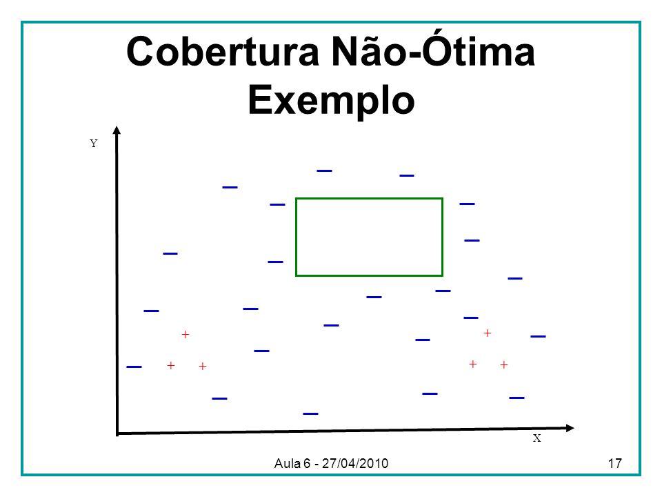 Cobertura Não-Ótima Exemplo X Y + + + + + + Aula 6 - 27/04/201017
