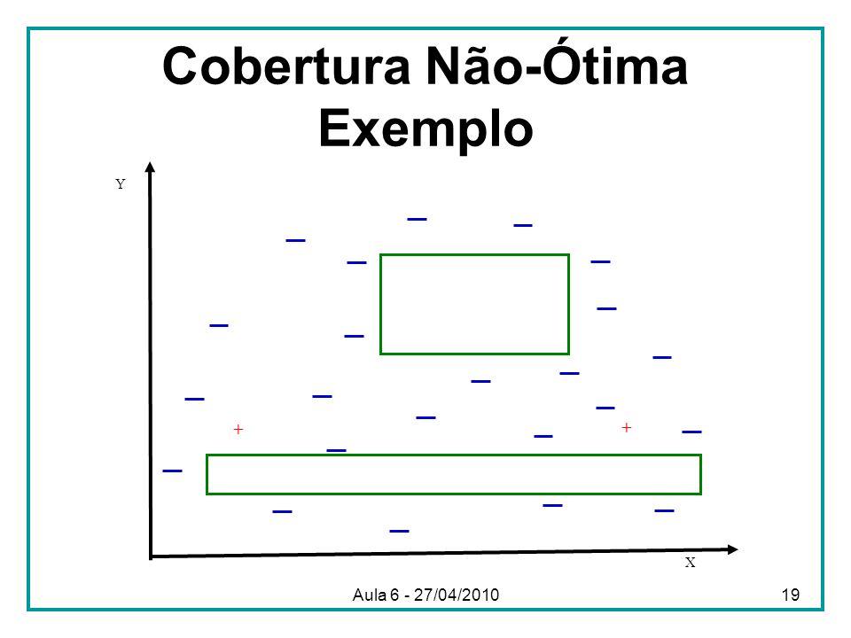 Cobertura Não-Ótima Exemplo X Y + + Aula 6 - 27/04/201019