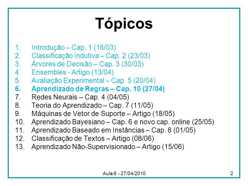 Aula 6 - 27/04/2010 Tópicos 1.Introdução – Cap. 1 (16/03) 2.Classificação Indutiva – Cap. 2 (23/03) 3.Árvores de Decisão – Cap. 3 (30/03) 4.Ensembles