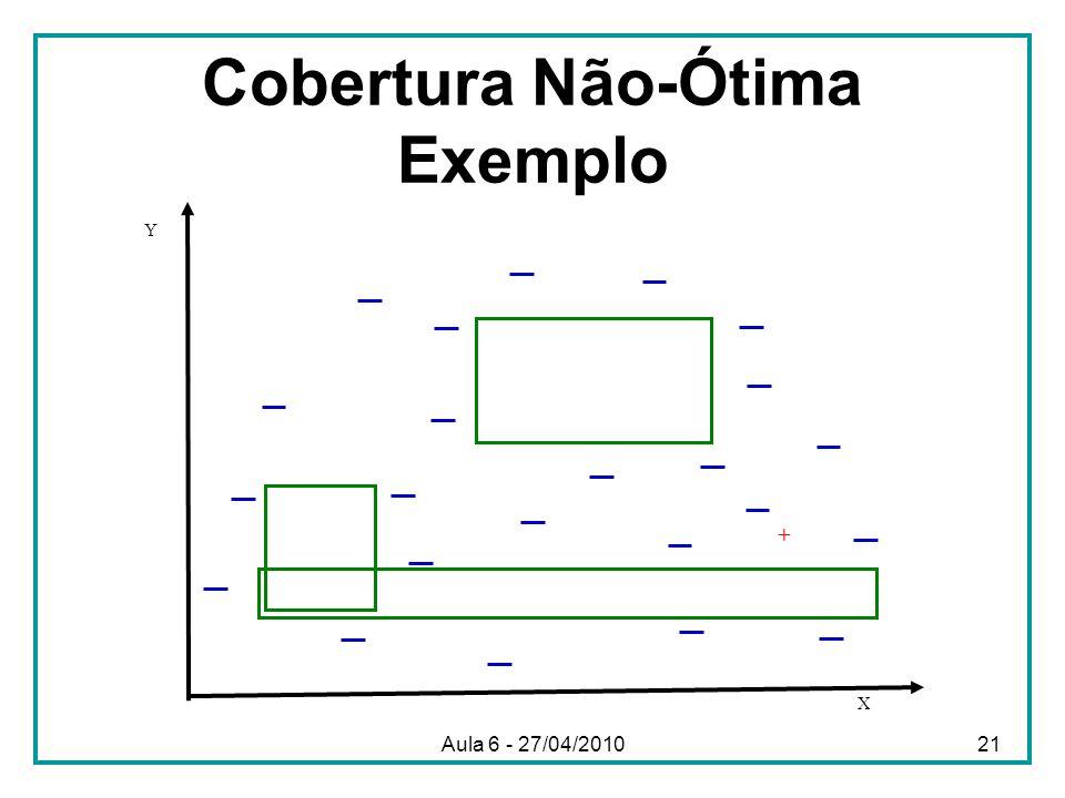 Cobertura Não-Ótima Exemplo X Y + Aula 6 - 27/04/201021