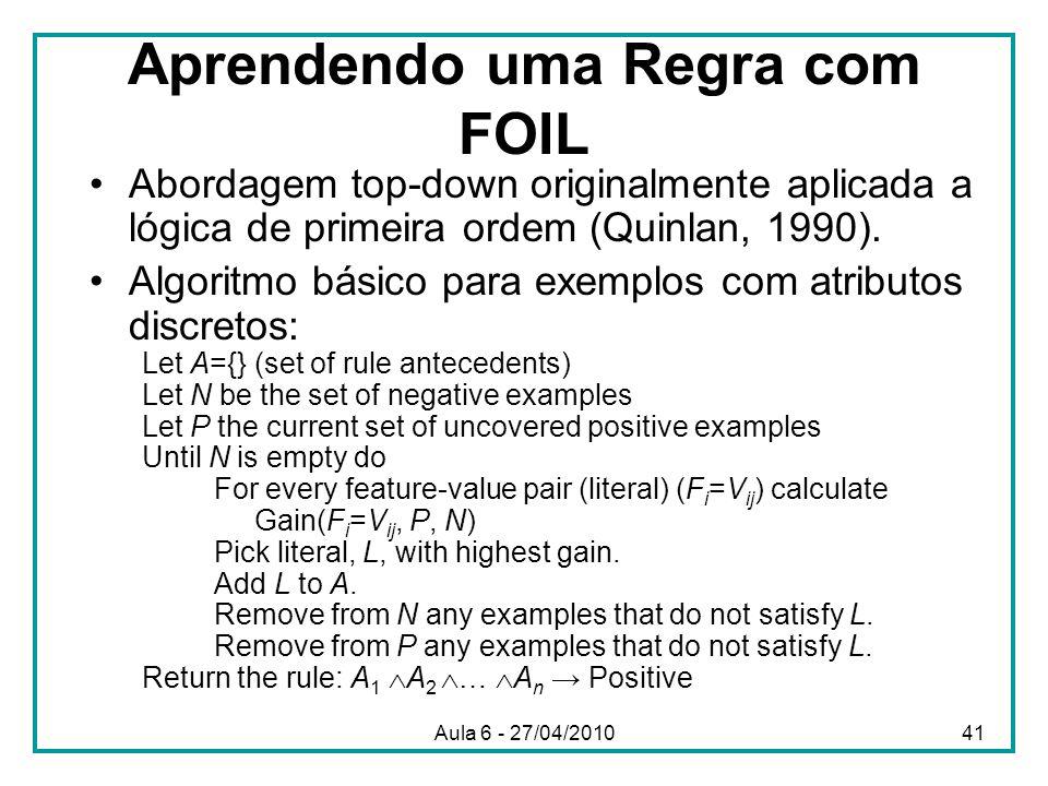 Aprendendo uma Regra com FOIL Abordagem top-down originalmente aplicada a lógica de primeira ordem (Quinlan, 1990). Algoritmo básico para exemplos com