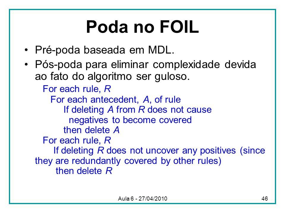 Poda no FOIL Pré-poda baseada em MDL. Pós-poda para eliminar complexidade devida ao fato do algoritmo ser guloso. For each rule, R For each antecedent
