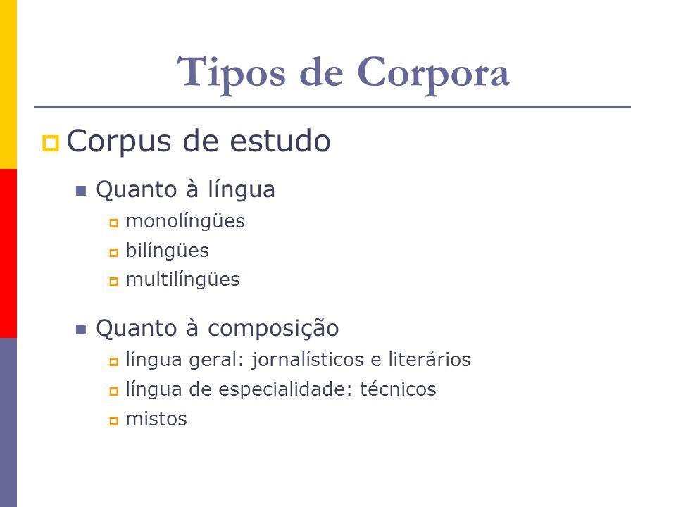 Tipos de Corpora Corpus de estudo Quanto à língua monolíngües bilíngües multilíngües Quanto à composição língua geral: jornalísticos e literários líng