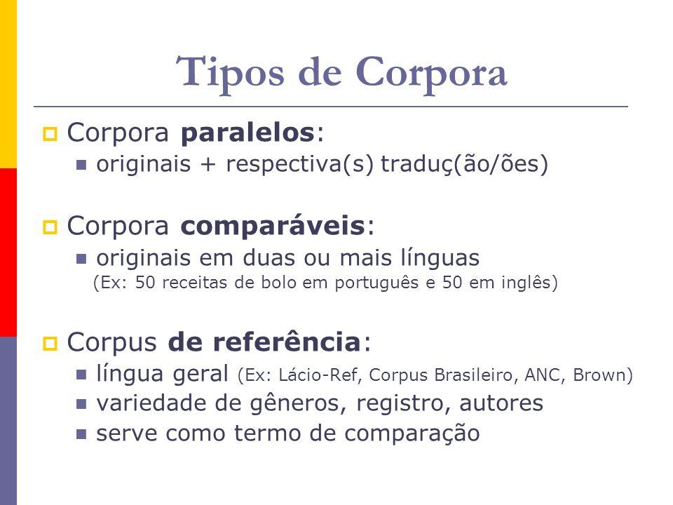 Tipos de Corpora Corpora paralelos: originais + respectiva(s) traduç(ão/ões) Corpora comparáveis: originais em duas ou mais línguas (Ex: 50 receitas d