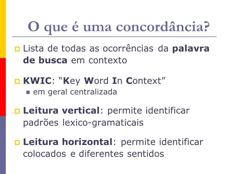 O que é uma concordância? Lista de todas as ocorrências da palavra de busca em contexto KWIC: Key Word In Context em geral centralizada Leitura vertic