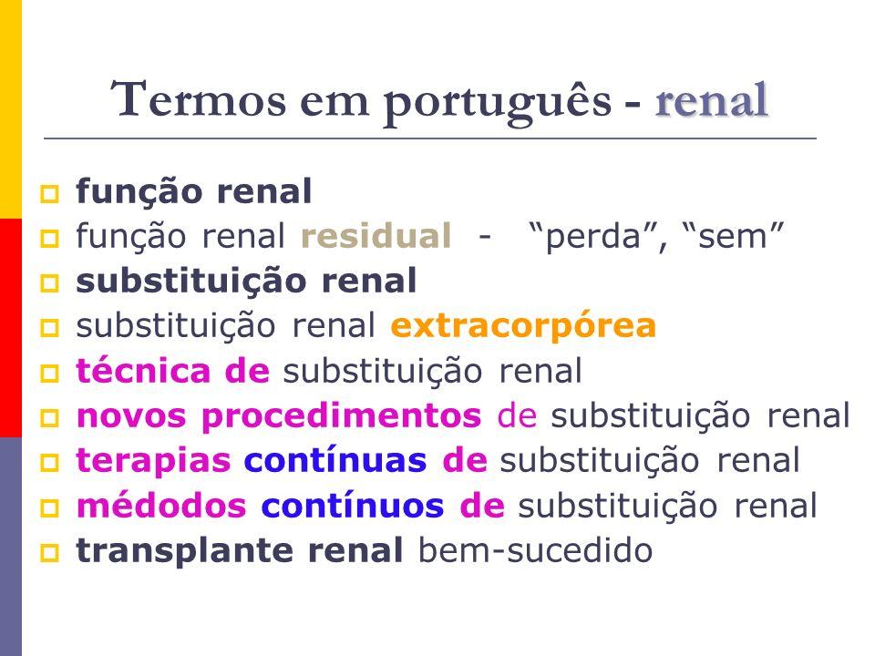 renal Termos em português - renal função renal função renal residual - perda, sem substituição renal substituição renal extracorpórea técnica de subst