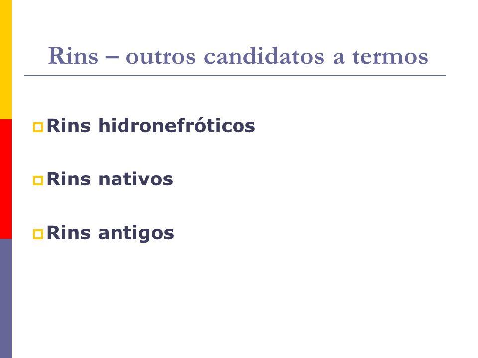 Rins – outros candidatos a termos Rins hidronefróticos Rins nativos Rins antigos