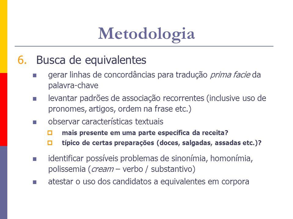 Metodologia 6.Busca de equivalentes gerar linhas de concordâncias para tradução prima facie da palavra-chave levantar padrões de associação recorrente